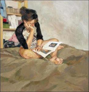 Donne che leggono libri nei quadri della pittrice Monica Castanys