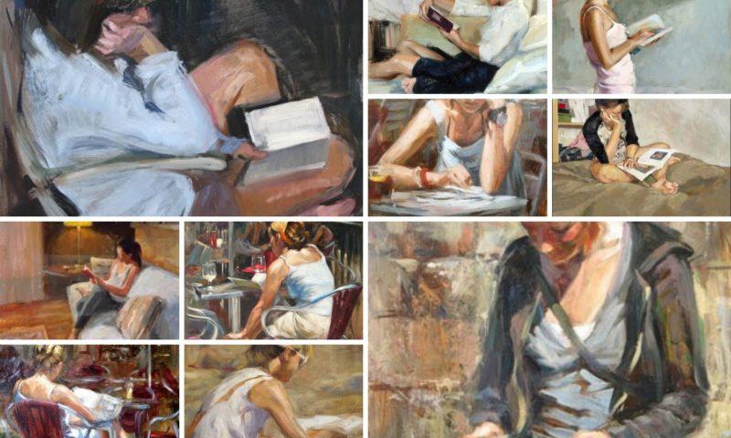 Monica Castanys dipinge donne che leggono libri